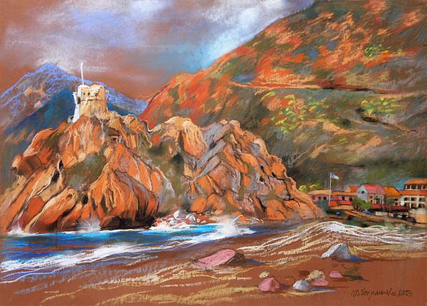 """""""Marina w Porto"""", rysunek pastel"""