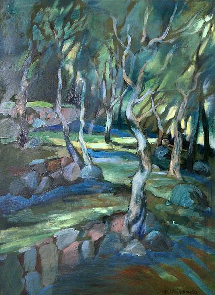 """""""Oliwny gaj o poranku"""", malarstwo akryl"""