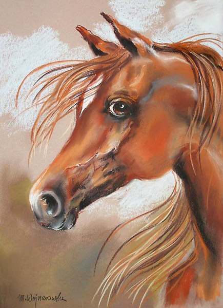 Kasztanka, rysunek konie, pastel