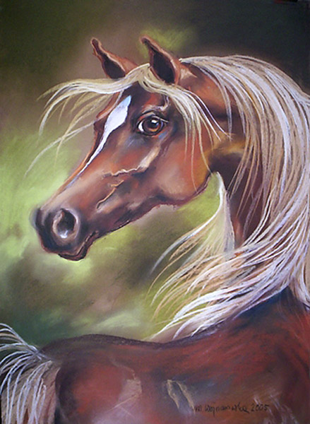 """Arabska klacz"", rysunek konie, pastel"