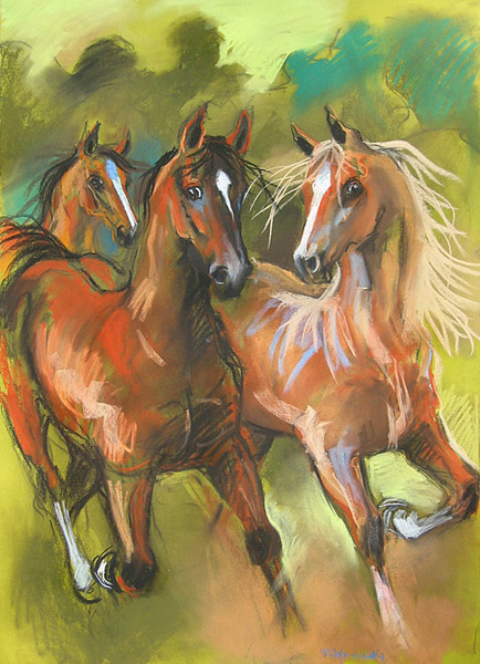 Powrót z pastwiska, konie, rysunek pastel