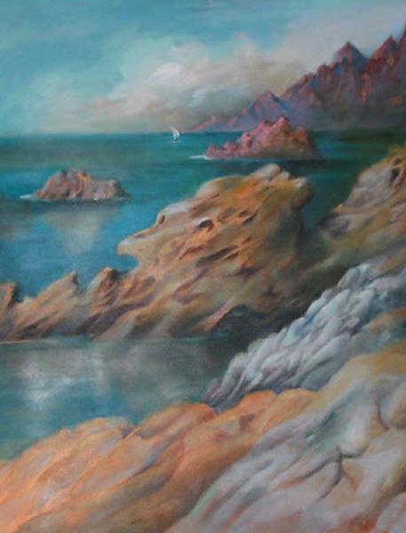 """""""Nadmorskie skały w Porto"""", malarstwo akryl"""