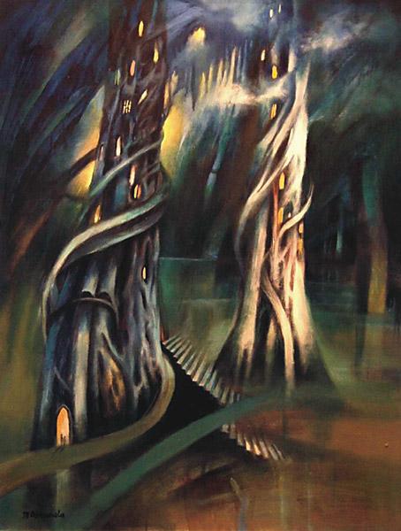 Dwie wieże, malarstwo akryl