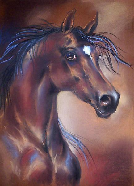 Portret gniadego konia, rysunek pastel