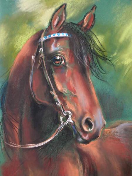 Gniady folblut, rysunek pastel, konie