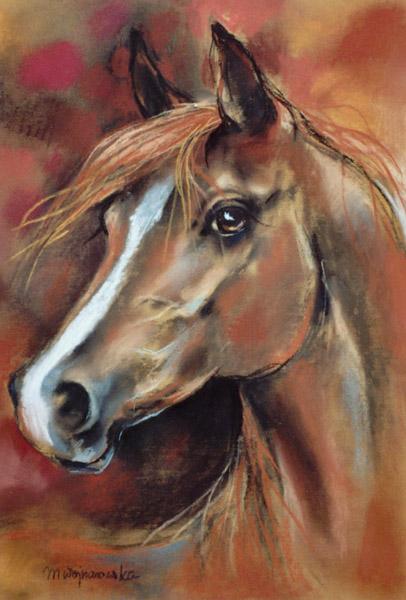 Koń jesienny, rysunek pastel, konie