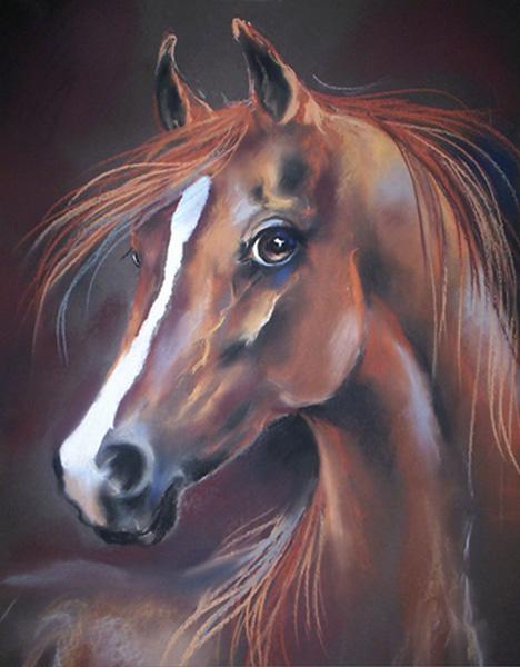 Kasztan, rysunek pastel, konie 100/70 cm