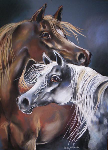 Siwy i kasztan, rysunek pastel, konie