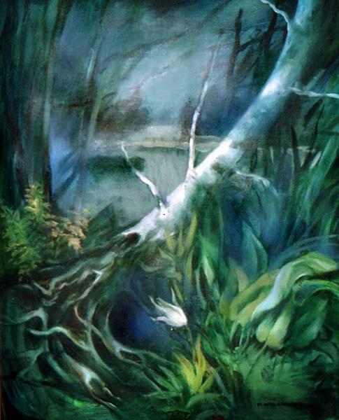 """""""Znad jeziora"""", malarstwo akryl"""