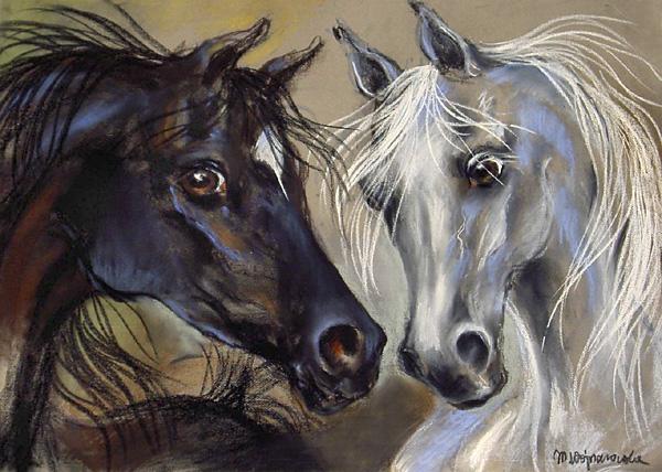 On i ona, pastel, konie