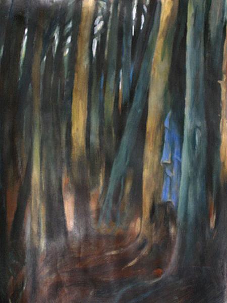 """""""Samotny płaszcz w lesie"""", malarstwo akryl"""