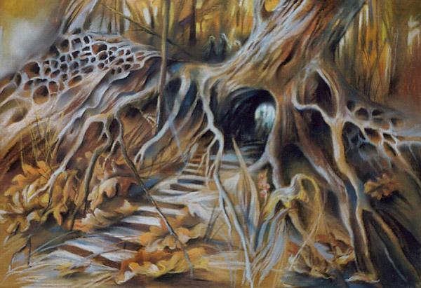 """Pod korzeniami"", rysunek pastel"
