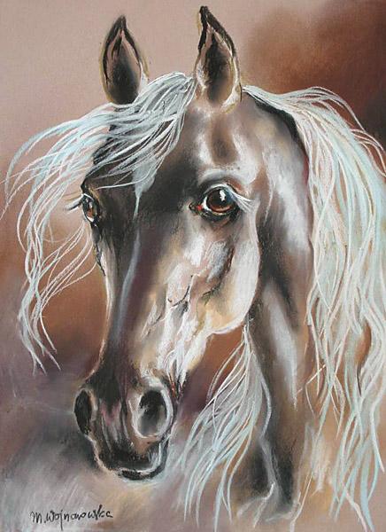 """Palomino"", rysunek pastel, konie"